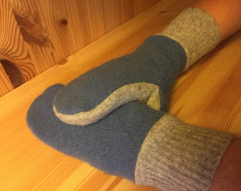 Upcycled Wool Mittens, Sweater Mittens, Fleece Lined Mittens