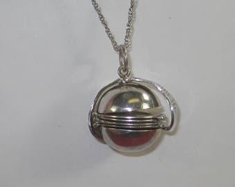 C- 41 Vintage  Necklace locket 925 silver 24 in long