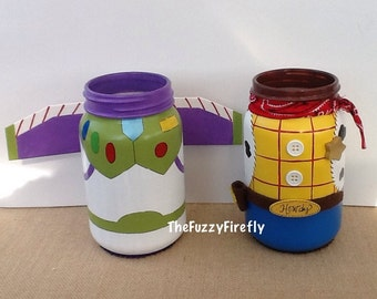 Handmade Toy Story Inspired Centerpiece,Woody,Buzz,Jessie Inspired Jar,Party Decor,Party Favor,Table Decoration,Cowboy or Spaceman Party