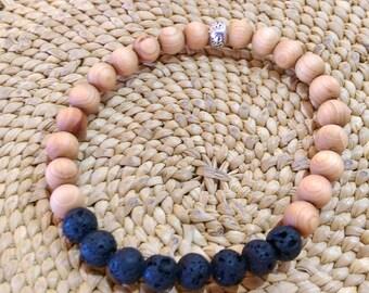 Lava stone, sandalwood and hill tribe silver elastic bracelet
