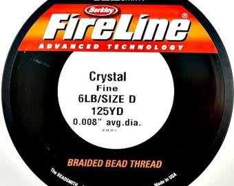 6 Lb Fireline Braided Bead Thread, 125 Yards, Crystal or Smoke, DIY Jewelry, Bead Embroidery, Bead Supply
