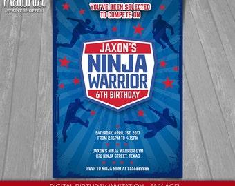 Ninja Warrior Invitation - American Ninja Warrior Invite - Ninja Birthday Printed Invitation - American Ninja Warrior Party (NWIN05)