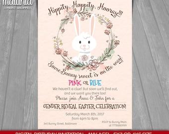 Some Bunny Gender Reveal Easter Invitation - Gender Reveal Easter Card Invitation - Bunny Invitation - Bunny Baby Shower Invite