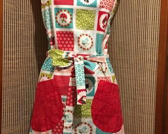 Ladies apron,full apron, red riding hood apron