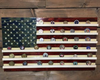 Wooden American Flag Wall Hanging challenge coin holder rustic american american flag