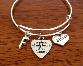 Sister memorial gift, sister sympathy gift, sister memorial jewelry, memorial jewellery, loss of sister bracelet, a piece of my heart