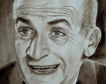 Portrait painting sepia original watercolour by Louis de Funès, french actor