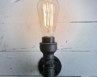 Flamborough : SteamPunk Wall Light, Bespoke, Retro, Vintage, Design for E27 Edison Bulb, industrial, pipe light, metal wall light