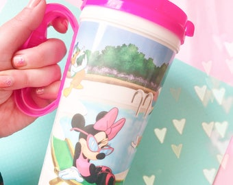 Disney mickey and Minnie Mouse collectable plastic mug with pink lid