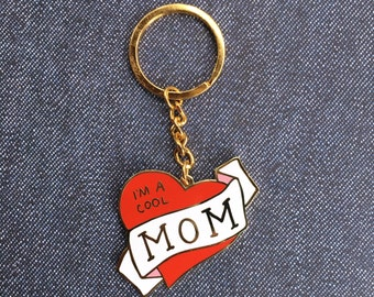 Gold I'm A Cool Mom Enamel Keychain