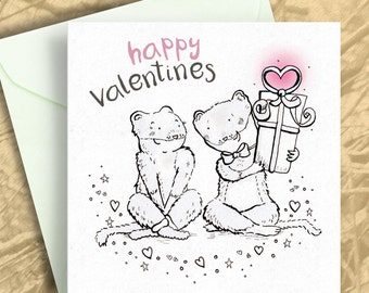 Valentines Card - Happy Valentines Card - Stoat Weasel Card