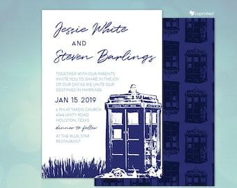 Dr Who Inspired Wedding Invitations, Time Travel Themed Wedding Invitations, Police Box Wedding Invitation, Tardis, RSVP, Program, Menu