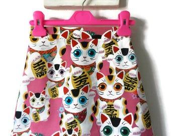 girls skirt, cat skirt, good luck kitty skirt, girls retro skirt, girls quirky skirt, girls clothes, pink skirt, girls clothing