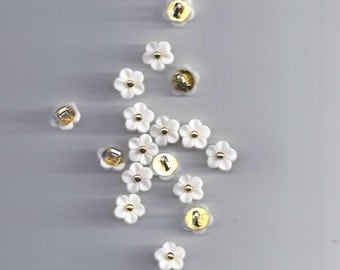10 Pcs 11mm Kawaii white flower buttons Rhinestone buttons for shirt Scrapbooking (46)