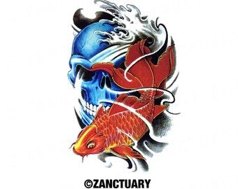 Koi temporary tattoo etsy for Fake koi fish