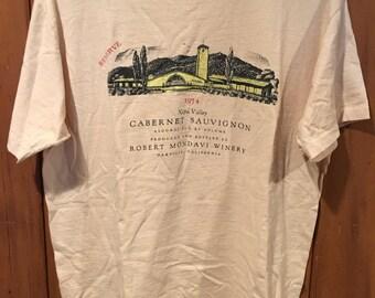 Vintage Men's Large Robert Mondavi Winery 1974 Reserve Cabernet Sauvignon 1980s Wine T Shirt Napa Valley California Hanes