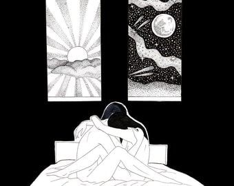 Day and Night / Lovers / Hold Me / Erotic Art Print / Art for Sale