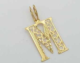 """14K Gold Filigree Letter """"M"""" Pendant"""