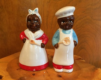 Vintage Black Americana Mammy and Chef Salt and Pepper Shakers - Japan