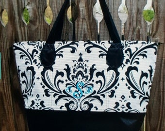 Large Damask Carry All Tote