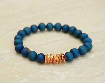 Blue Bracelet, Copper Charm Bracelet, Gifts for Her, Gemstone Bracelet, Stone Jewelry, Stacking Bracelet, Druzy Jewelry, Christmas Gift