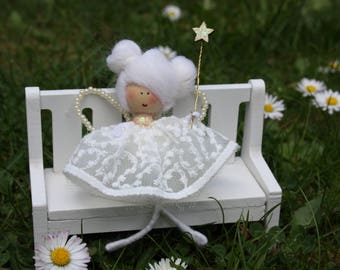 Chistmas fairy, Godmother gift, baby shower gift, nursery decor, fairy doll, small white fairy, wishing doll, Baptism doll, Dinasdolls