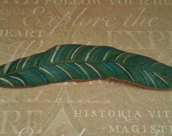 Green feather, leather cuff