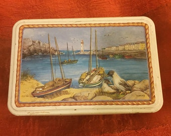 Vintage Collectible Breton Biscuit Tin, Made in France and Featuring a Boating/Harbour Scene
