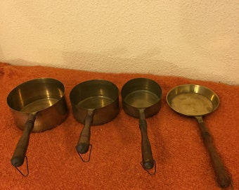 Set of Four Stunning Vintage Copper Pans, Made in France