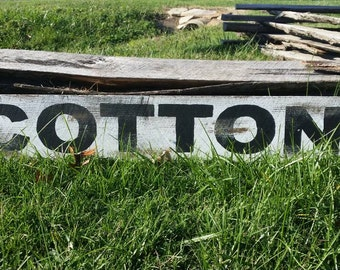 Cotton Rustic Sign, Rustic Wall Art, Hand Painted Sign, Distressed Sign