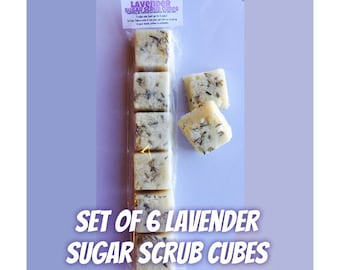 Set of 6 Lavender Sugar Scrub Cubes - All Natural Exfoliating Soap - Made with Essential Oils - Dried Lavender - Sugar Scrub Favors - Spa
