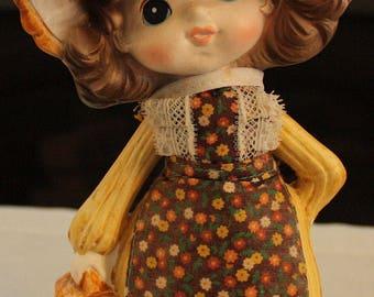 Vintage Enesco Bank, Girl Wearing Yellow Dress and Bonnet