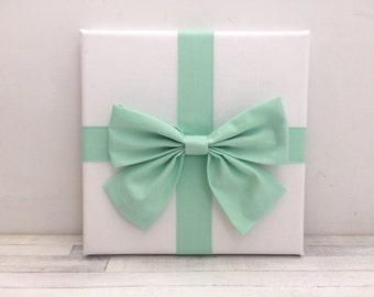 Mint bow art, girls nursery, girls bedroom decor, princess bedroom, mint green art, bow, girls wall art, bow canvas