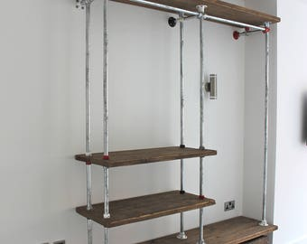 Belle Reclaimed Scaffolding Board and Galvanised Steel Pipe Industrial Open Wardrobe/Dressing Room System with Powder Coated Fittings
