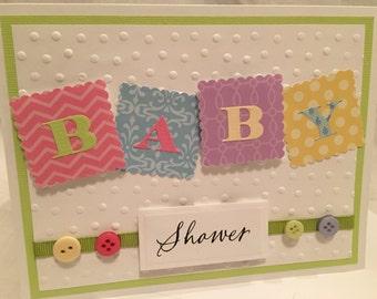 Baby Shower Card, Girl or Boy Baby Shower Card, Handmade Card