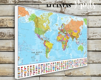 Large World Map Etsy - Detailed world map