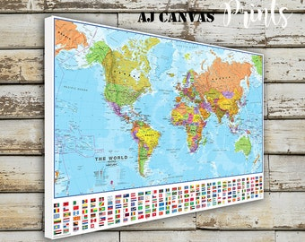 Framed world map etsy world map large world map push pin map for home office decoration sciox Images