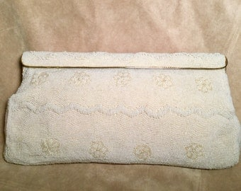Vintage 50's Walborg White Beaded Clutch