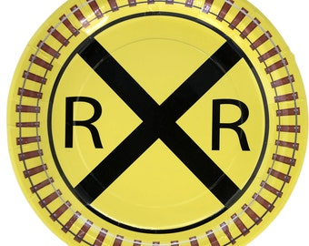 """RailRoad Train Party 9"""" Lunch Plates 8 Pack"""