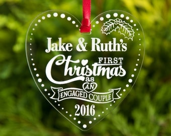 Our First Christmas as Engaged Couple Personalised Baubles Xmas Tree Decorations Engraved Engagement Keepsake Hanging Heart Gift 1st Xmas