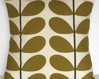 "1 x 16"" (40cm x 40cm) Orla Kiely Two Colour Stem Olive Cushion Cover"