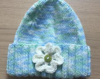 Beanie with Folded Band and Flower