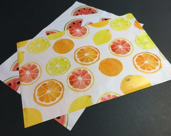 100 Designer CITRUS FRUIT and WATERMELON Poly Mailers 10x13 Envelopes Shipping Bags 50 Each
