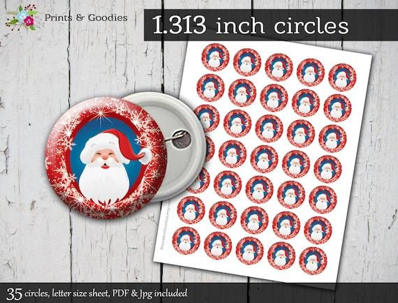 "Santa Printable Button Machine 1.313"" Circles, Christmas"
