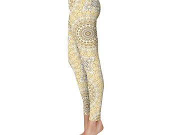 Mandala Pattern Hippie Pants - Tribal Leggings, Mustard Yellow and White Funky Leggings, Footless Tights, Creative Clothing
