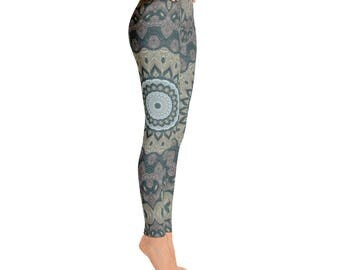 Printed Leggings for Women - Tribal Yoga Pants, Mandala Patterned Boho Leggings, Shaman Clothing