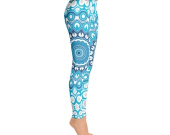 Leggings Yoga, Blue and Gray Printed Leggings, Mandala Yoga Pants, Boho Yoga Tights, Art Leggings, Womens Stretch Pants