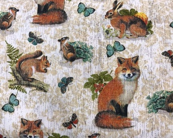 Woodland creatures fabric, fox fabric, forest animals fabric, rabbit fabric, squirrel fabric, chipmunk fabric, woods, nature,summer