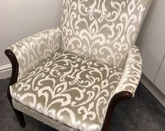 One-off reupholstered armchair