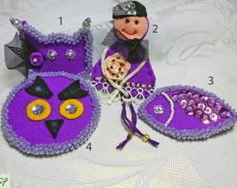 Brooch felt doll cat fish owl, Felt brooch, Purple brooch, Textile Brooch, Fabric brooch, Beaded Brooch, Beadwork, Baby shower gift